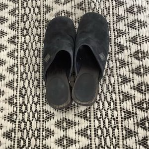 Chanel Runway CC Black Suede Clogs Size 6